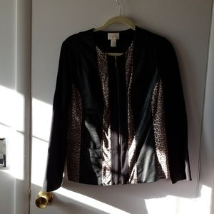 Pleather trimmed jacket. Chicos size 0